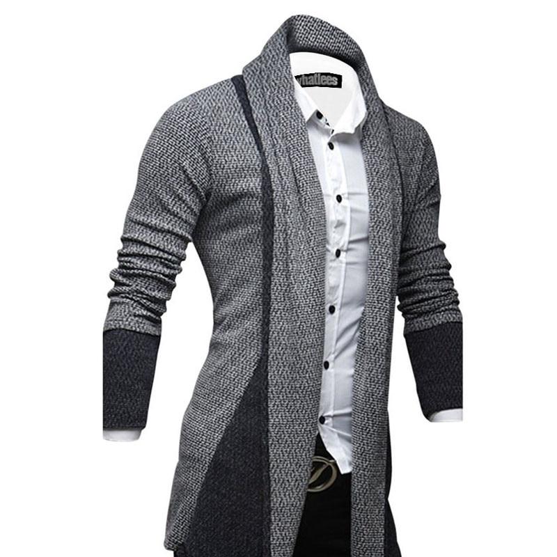 Men 39 s Cardigan Fashion Patchwork Long Sleeve Slim Fit Men Sweater 2019 Spring Autumn Sweater Korean Men 39 s Clothing Knitting