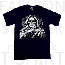 La manera del estilo del verano Camisetas con capucha Grim Reaper con  guadaña camiseta hombres cuello redondo manga corta Camise. 1432b6cced88a