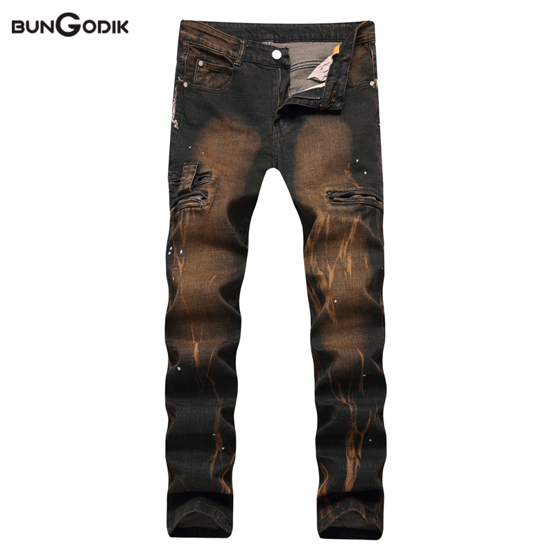 Bungodik 2017 Retro Trend Ripped Jeans for Men Water Washed Yellow Print Straight Jeans Mens Stretch Zipper Elastic Waist Pants