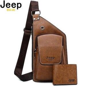Image 1 - JEEP BULUO marque hommes sacs de poitrine 2 pièces ensemble été voyage sac à bandoulière pour homme en cuir fendu Corssbody sac de haute qualité hommes sacs