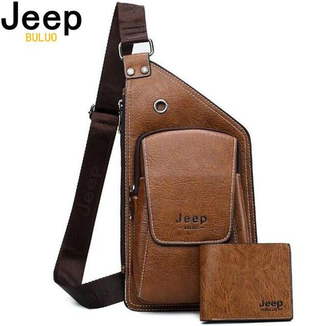 JEEP BULUO marque hommes sacs de poitrine 2 pièces ensemble été voyage sac à bandoulière pour homme en cuir fendu Corssbody sac de haute qualité hommes sacs
