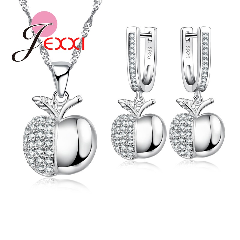 Jexxi Apple Form Mode Sterling Silber Schmuck Sets Für Frauen Mädchen Party Zubehör Mode Anhänger Halskette Ohrringe Set Geschenk Ausgereifte Technologien Hochzeits- & Verlobungs-schmuck