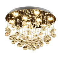 Modern Fashion Romantic Circular K9 Crystal LED Ceiling Lamp DIY Home Deco Dining Room Stainless Steel