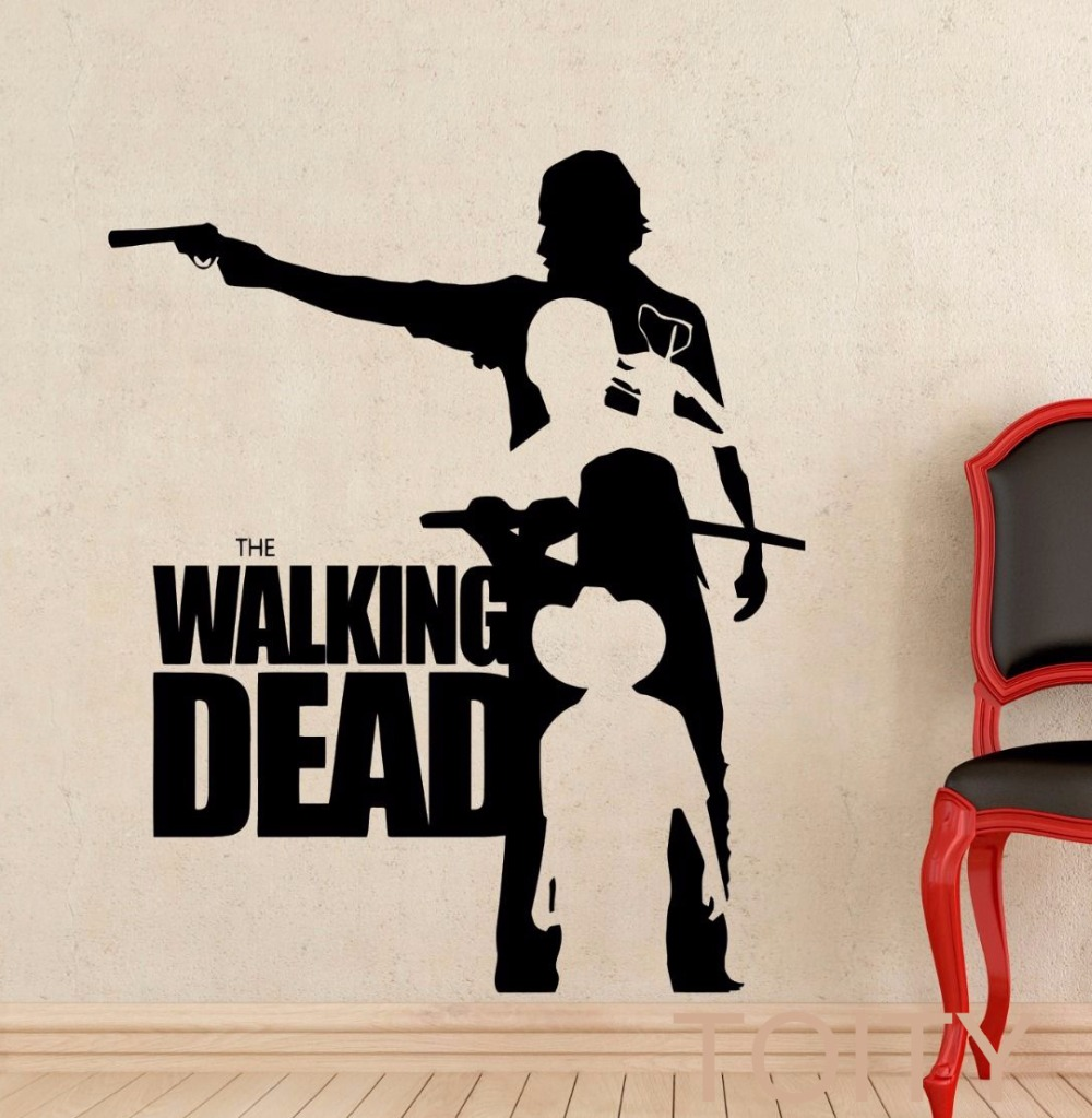 Walking dead wall sticker zombie movie vinyl decal poster for Mural walking dead