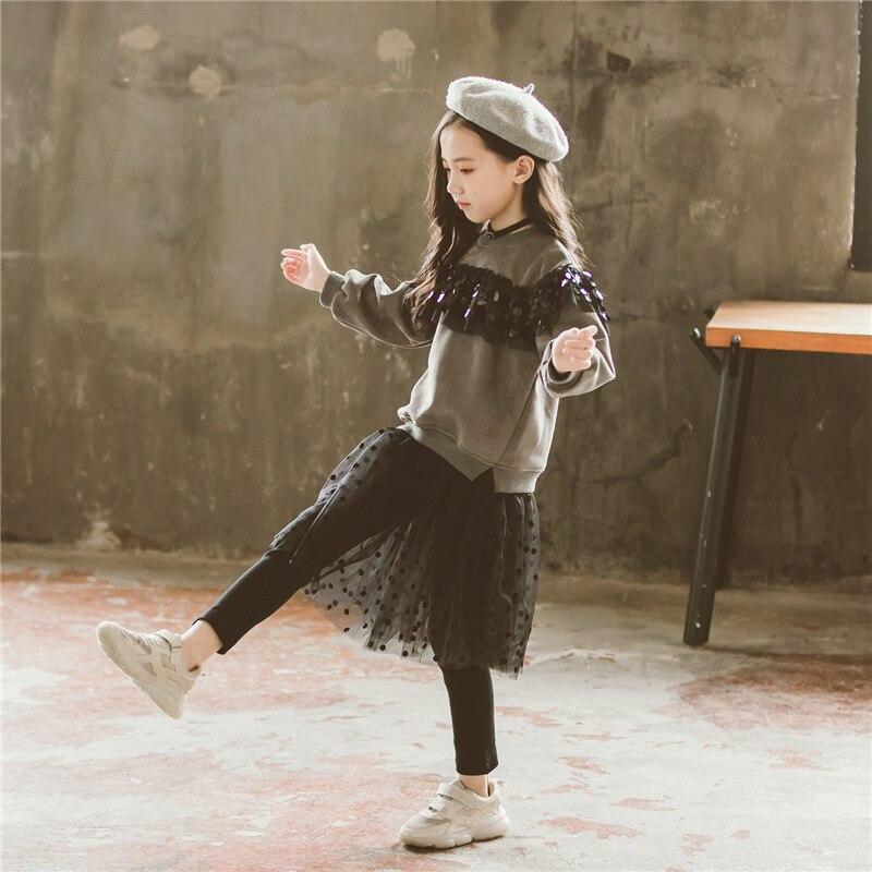 Hiver ensemble de vêtements décontractés 2 pièces Bébé Filles Enfants Salopette Jupe Pantalon + Paillettes Pull sweatshirt hauts Vêtements Tenues Automne
