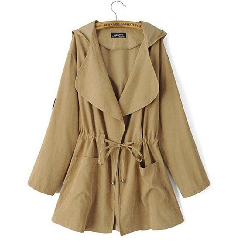 HTB1CLumKaSWBuNjSsrbq6y0mVXaN Autumn Women's Casual Hooded Windbreaker Coat Turndown Collar Overcoat Outerwear Coat Solid Color Trench Belt Slim Tops Coat