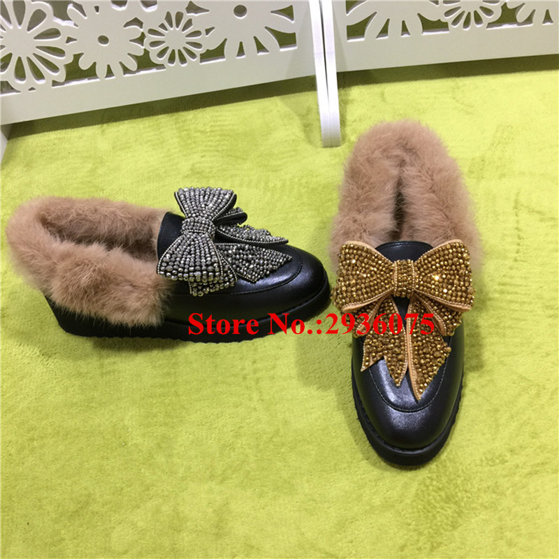 Fashion Mules Black Soft Leather Bow Tie Crystal Flat Platform Women Winter Casual Shoes Fur Butterfly-Knot Loafers Shoes Woman hee grand soft transparent jelly women sandals flat with crystal colorful rhinestones butterfly knot beach shoes xwz3446
