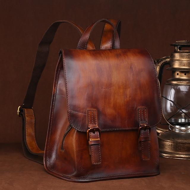 Vintage Brush Color Women s Genuine Leather Backpack Girl Lady s School Bag  Messenger Shoulder Pack LS9914 f03c12827e305