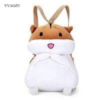 Cartoon Hamster Plush Backpack Cute Stuffed Mini Squirrel Toy Doll Hand Warmer Schoolbag Shoulder Bag For