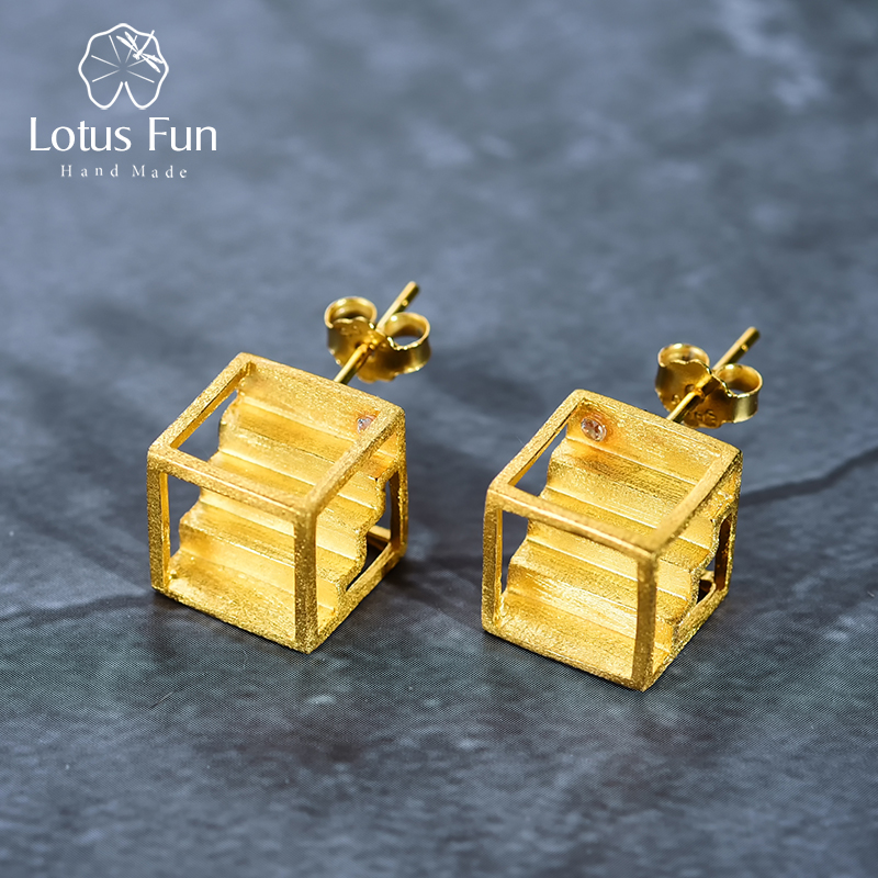 Lotus Fun Real 925 Sterling Silver Handmade Fine Jewelry Architectural Element Creative Stairs Design Stud Earrings for Women