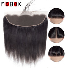 MOBOK Hair Malaysian 13x4 Straight Lace Frontal Closure Human With Baby Hair Free Part Side closure 13*4 Lace Frontals(China)