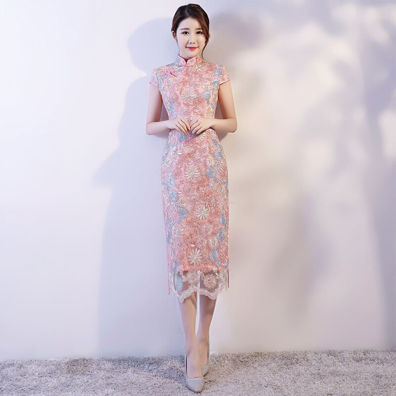 Pink Fashion Chinese style Women's Long Cheongsam New Arrival Summer Lace Dress Elegant Slim Qipao Vestidos Size S M L XL XXL s xl 2016 new summer