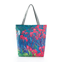 Floral Printed Canvas Tote Female Casual Beach Bags Large Capacity Women Single Shopping Bag Daily Use