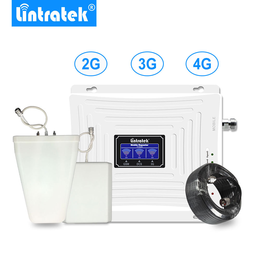 Lintratek Display LCD 2G 3G 3 4G Tri Band Repetidor De Sinal GSM 900 1800G UMTS 2100 4G LTE 1800 Cell Phone Signal Booster Amplificação.