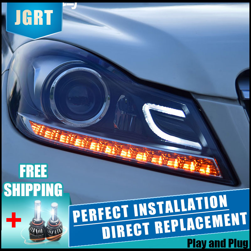 US $645 74 17% OFF|2PCS LED Headlights For Benz W204 2011 2013 Car Led  Lights Double Xenon Lens Car Accessories Daytime Running Lights Fog Ligh-in  Car
