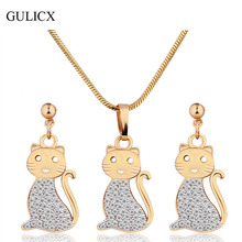 GULICX Fashion Animal Cat  Gold Platinum Plated Engagement Jewelry Set for Women Crystal Zircon Pendant Necklace Earring T027