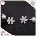 Hot Sale Top Quality Fashion 925 Sterling Silver Lovely Daisy Flower And Pearl Stud Earring