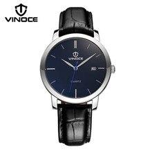 VINOCE original 2016 nuevos hombres de negocios reloj de cuarzo movimiento importado correa de cuero Del Relogio marca de lujo a prueba de agua 3269