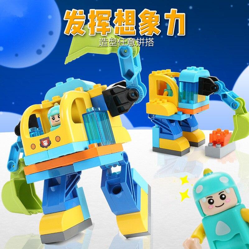 36Pcs Robot Creator Toy DIY Large Particle Building Blocks Sets Educational Toys for Children Compatible LegoINGLY Duplo Bricks
