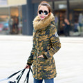 Novo 2017 Mulheres de Inverno Casaco Amassado Jaqueta de Médio-Longo Plus Size 4XL Parka Gola De Pele Engrossar Capuz Abrigos Feminino Desgaste Neve C2473