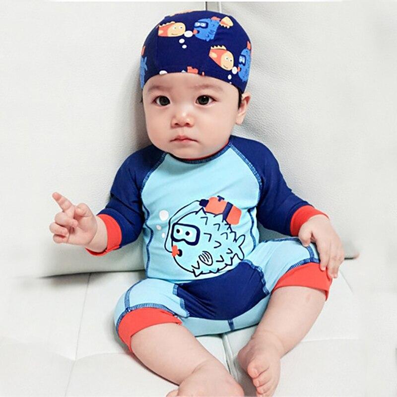 1-12Y Boy Swimwear Baby Kids Long Sleeve One Piece Swimsuit Blue Fish Toddler Boy Swim Suits Baby Bodysuit Children Bathing Suit