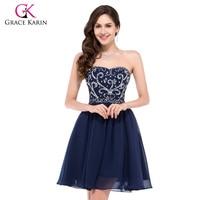 Corto vestido de fiesta Grace Karin azul marino rojo verde negro vintage gasa Homecoming formal con cuentas vestidos de baile 2018
