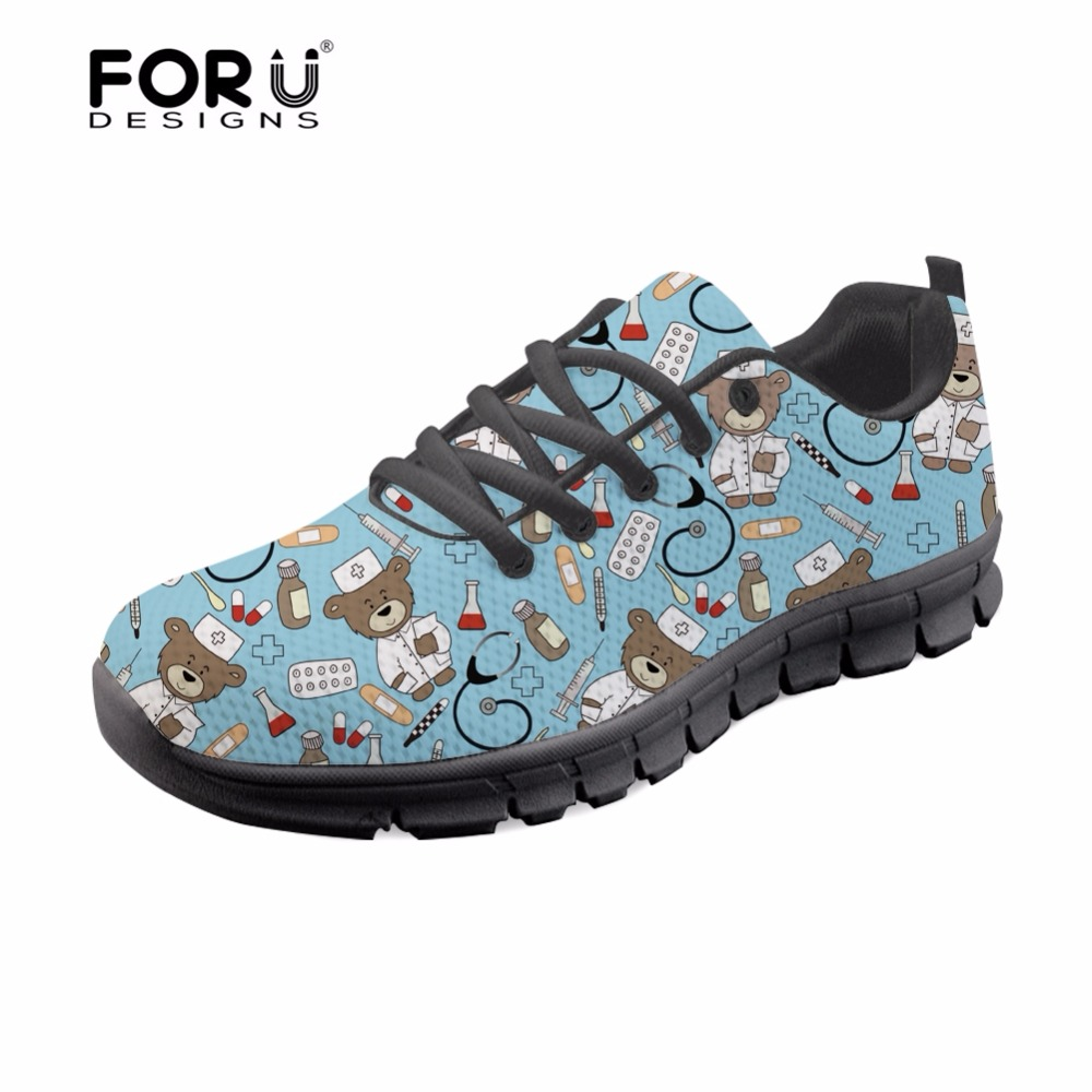 FORUDESIGNS Blue Cute Nurse Bear Brand Designer Flats Shoes Women Shoes Woman Casual Lace up Light Shoes for Female Walking Flat in Women 39 s Flats from Shoes