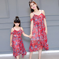Mother daughter dresses Summer style fashion flower women dress robe vestidos mom and daughter dress family matching clothes