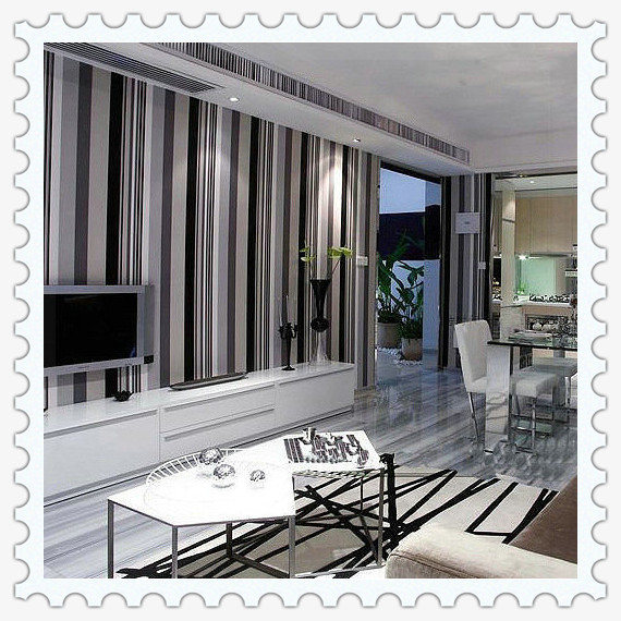 Dinding Garis Vertikal Non Woven Kain Wallpaper Stiker Tahan Air Dapur