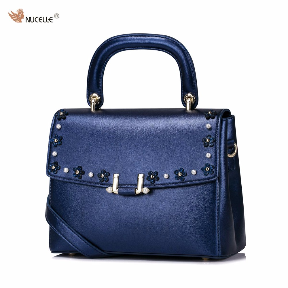 2017 New NUCELLE Brand Design Fashion Appliques Pearls High Quality PU Leather Women Lady Handbag Shoulder Flap Bags Bright Blue