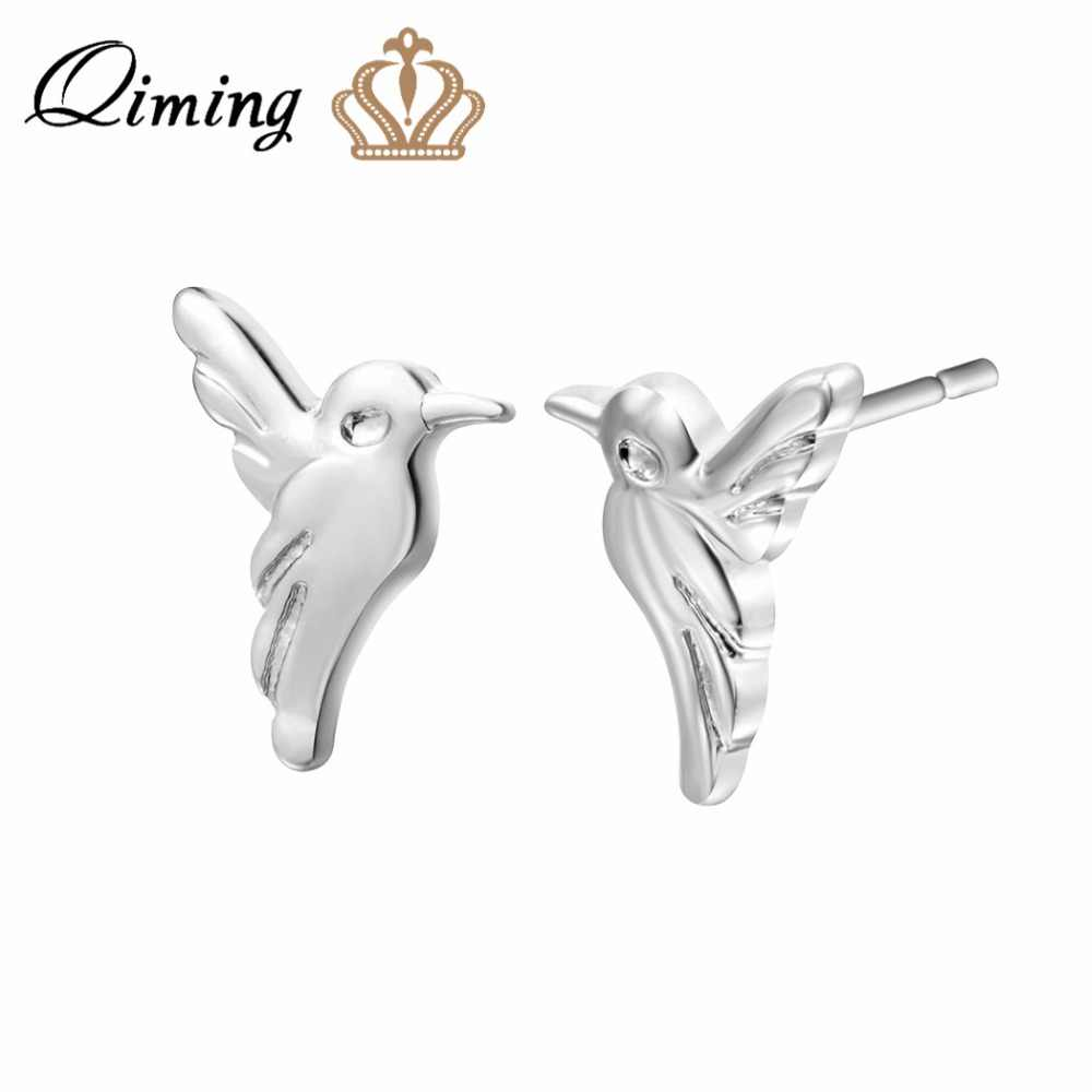 b0665b528 QIMING Silver Hummingbird Stud Earrings For Women Simple Design Animal Charm  Bird Earrings Friends Gift Wholesale
