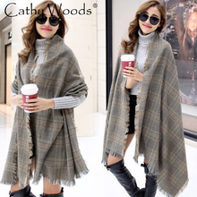2016 Classic Women s Large Tartan Scarf Shawl Stole Plaid Checked Acrylic New Brand Double Faux