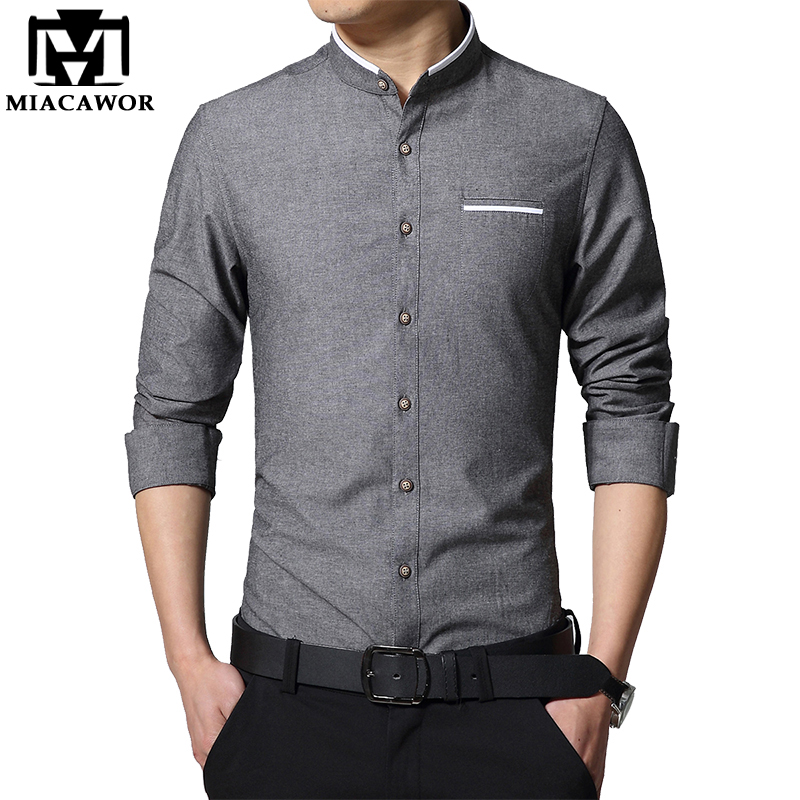 MIACAWOR Solid Colors Shirt Men Spring Long-Sleeve Camisa Masculina Stand Collar Casual Shirts Slim Fit Chemise Homme MC278