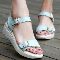 ULKN Women Open Toe Platform Sandals Women Casual Shoes Nwomen Sandals PU Leather Flat Sandals Low