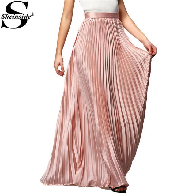 Primavera 2016 Mulheres Sheinside New Arrival Fashion Designer Elegante Das Senhoras Elástico Na Cintura Plissada Praia Maxi Saia