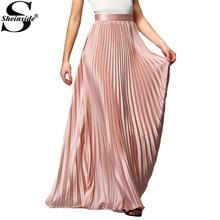 Sheinside Spring 2016 Womens New Arrival Fashion Designer Elegant Ladies Elastic Waist Pleated Beach Maxi Skirt