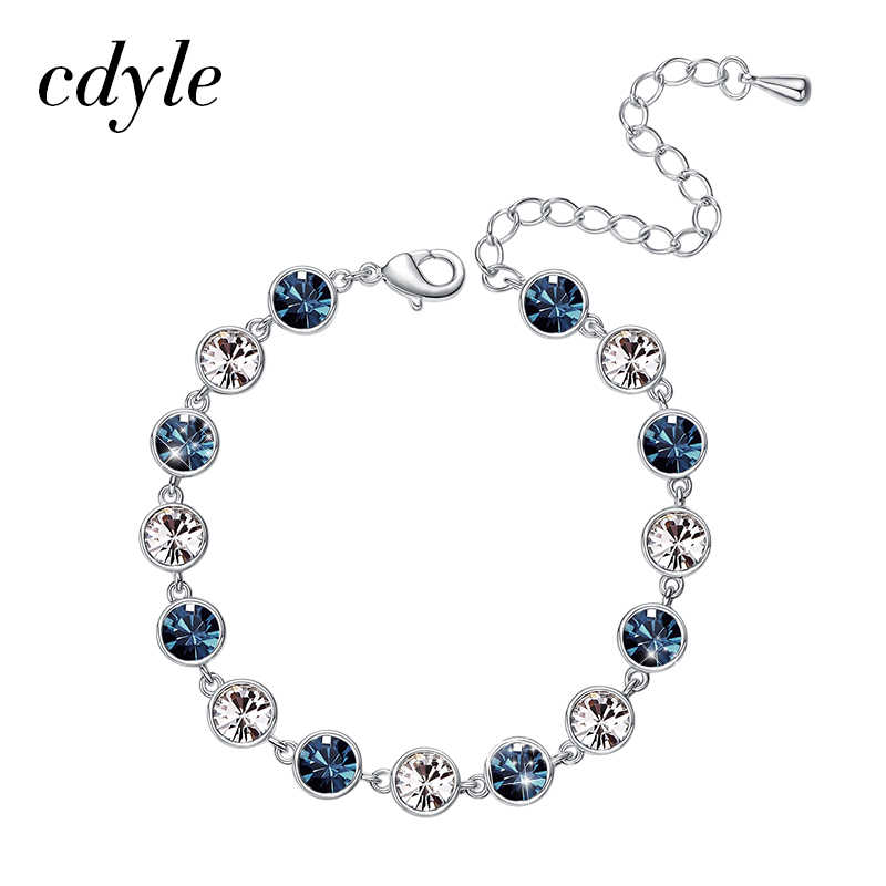 643f41a3fa711 Cdyle Embellished with crystals from Swarovski Bracelet For Women Wedding  Gift Korean Silver Chain Bracelets Bangles Jewelry