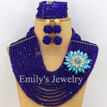 Indian Wedding Jewelry Set African Beads Bridal Necklace Set 12 Rows Crystal Beads Jewelry Set Royal Blue Free Shipping AJS327