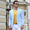 Free sipping 2017 newest casual high class Obscure blue vertical stripes business mens blazer men suits light blue made in china