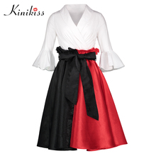 906c046b43 Kinikiss Women Clothing Spring Summer V neck Patchwork Red Black 50s 60s  Retro Dress
