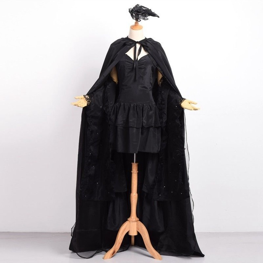 Sexy Lady Kamisiro Rize Cosplay Black Dovetail Dress Anime Tokyo Ghoul Costume Set