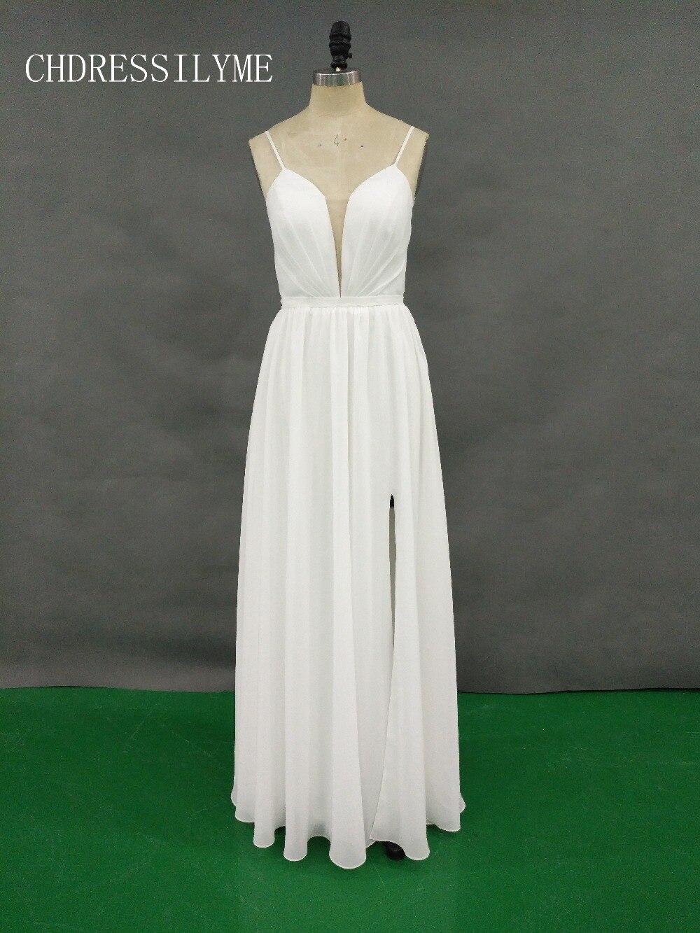 custome   Bridesmaid     Dresses   Spaghetti Strap Chiffon Ivory   dress   V-neck Sexy