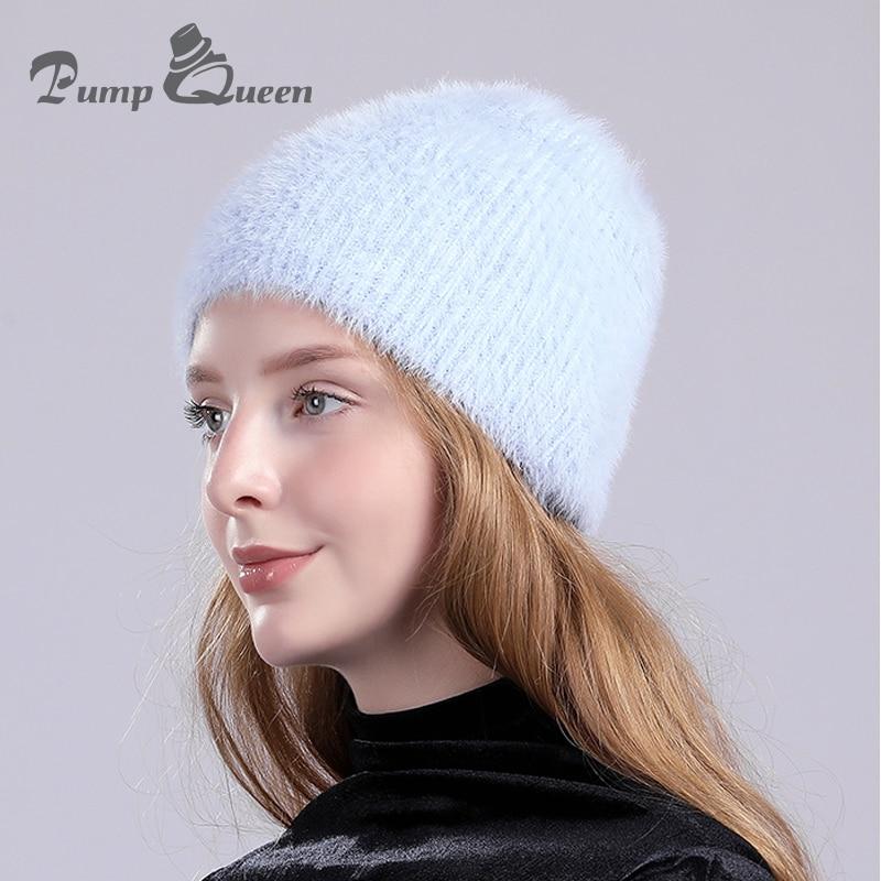 3ce62c488218eb Pump Queen New Rabbit Cashmere Knitted Hats Winter Women Thick Skullies  Hats Warm Gravity Falls Cap