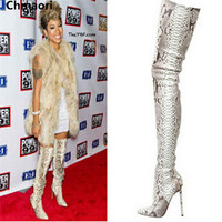 new fashion pointed toe snakeskin leather over the knee thigh high boots women genuine leather shoes