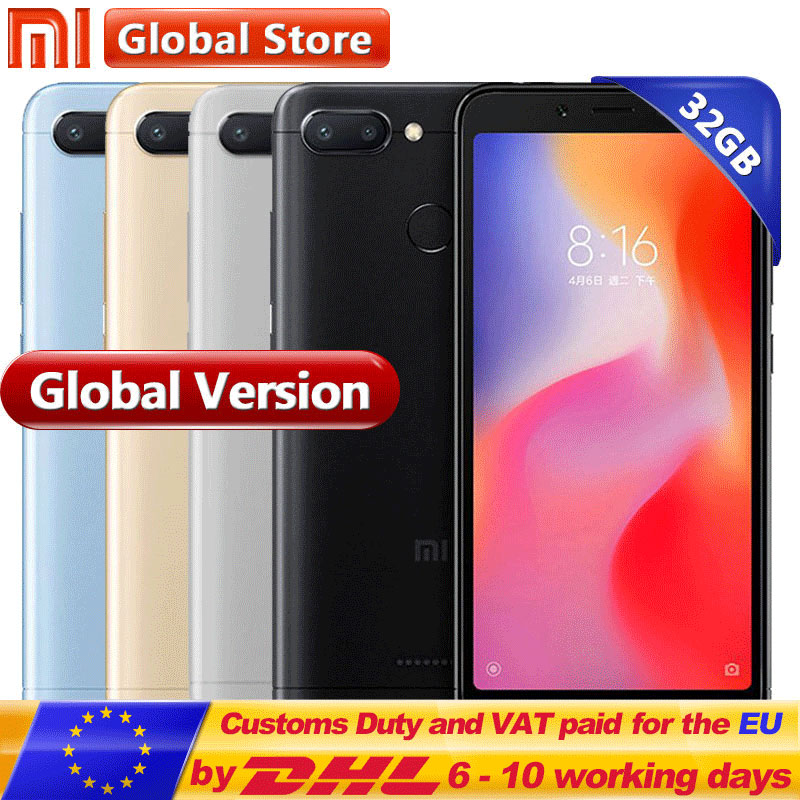 Global Version Xiaomi Redmi 6 3GB 32GB Mobile Phone  P22 Octa Core 5.45″ 18:9 Full Screen 12.0MP+5.0MP Cell phone  3000mAh