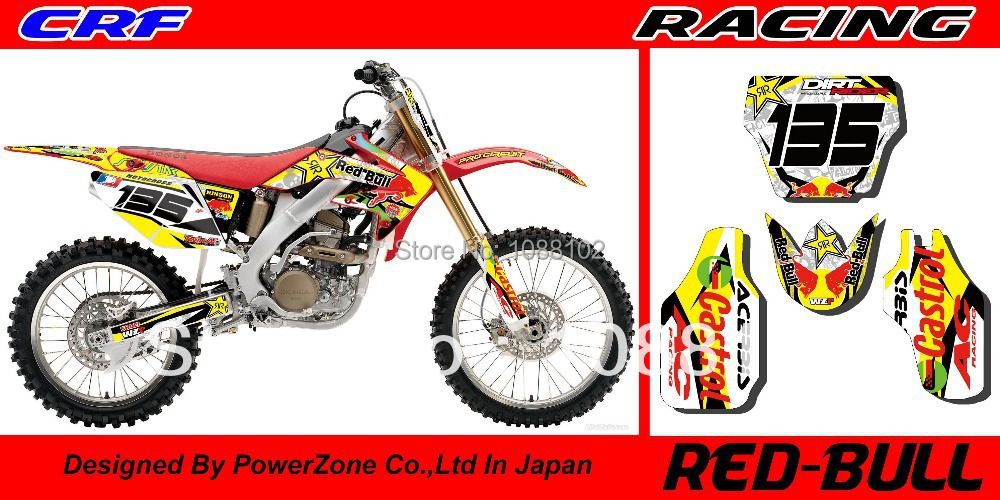 Team Graphics & Backgrounds Decals 3M Stickers CRF XR CRM Series Motorcycle Dirtbike Racing