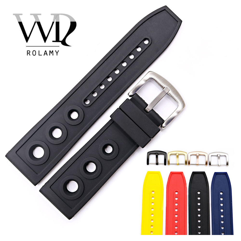 Rolamy 22 24mm Wholesale High Quality Rubber Silicone Replacement Wrist Watch Band Strap Loops Belt For Superocean