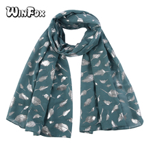 Winfox New Design  Leaf Shiny Bronzing Foil Silver Women Scarves Shalws Lady Polyester Scarf