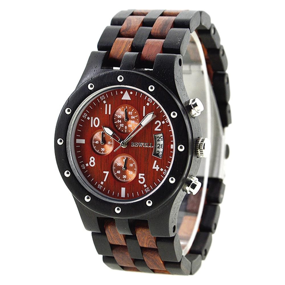 ФОТО BEWELL Wooden Watch Men Luxury Brand Quartz WristWatch with Complete Calendar dropship supplier 109D