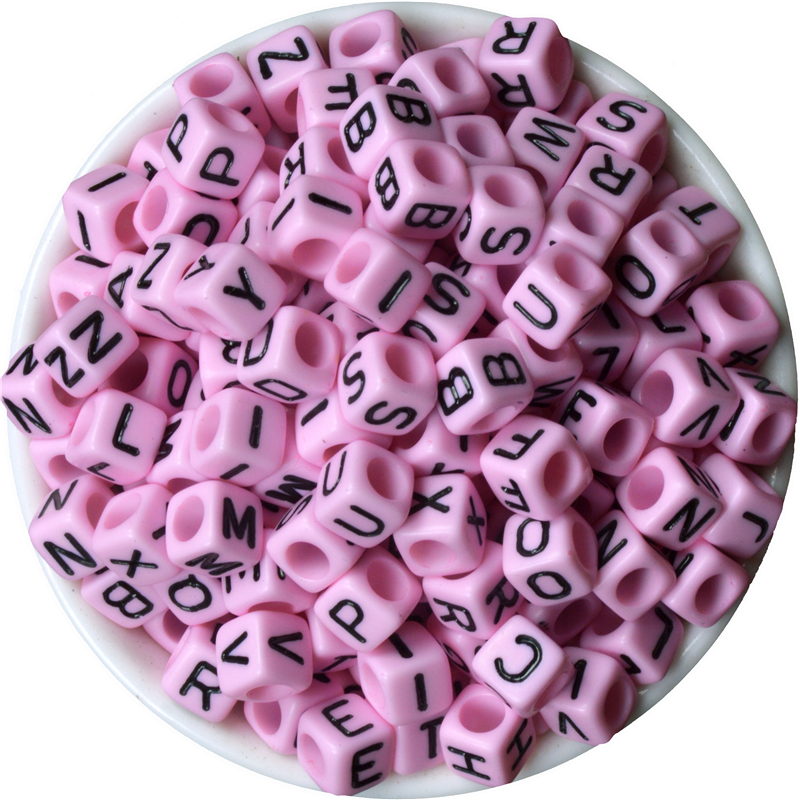 Beads Adaptable Pink 200/lot Russia Letter Alphabet Beads Resin Square Space Beads 6x6mm Baby Name Pacifier Jewelry Necklace&bracelet Diy